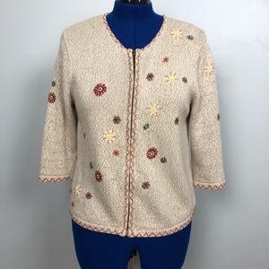 Christopher & Banks Hand Embroidered Sweater